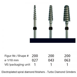 Electroplated spiral diamond finishers - Turbo Diamond Grinders -shape 200-0