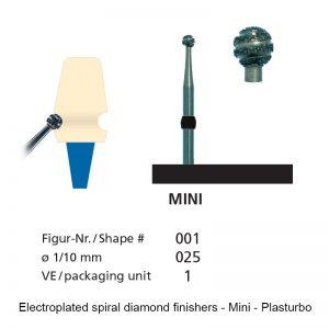 Electroplated spiral diamond finishers - Mini - Plasturbo - shape 001-0